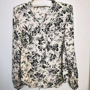 Marant Floral Blouse Korean Brand Cream Black Long sleeve buttondown Round neck